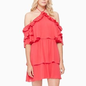 Parker Pink Ruffle Tie Neck Dress 100% Silk